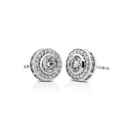 Splendeur Diamond Halo Stud Earrings in 14K Gold