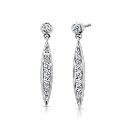Pas de Trois Elongated Diamond Drop Earrings in 14K Gold