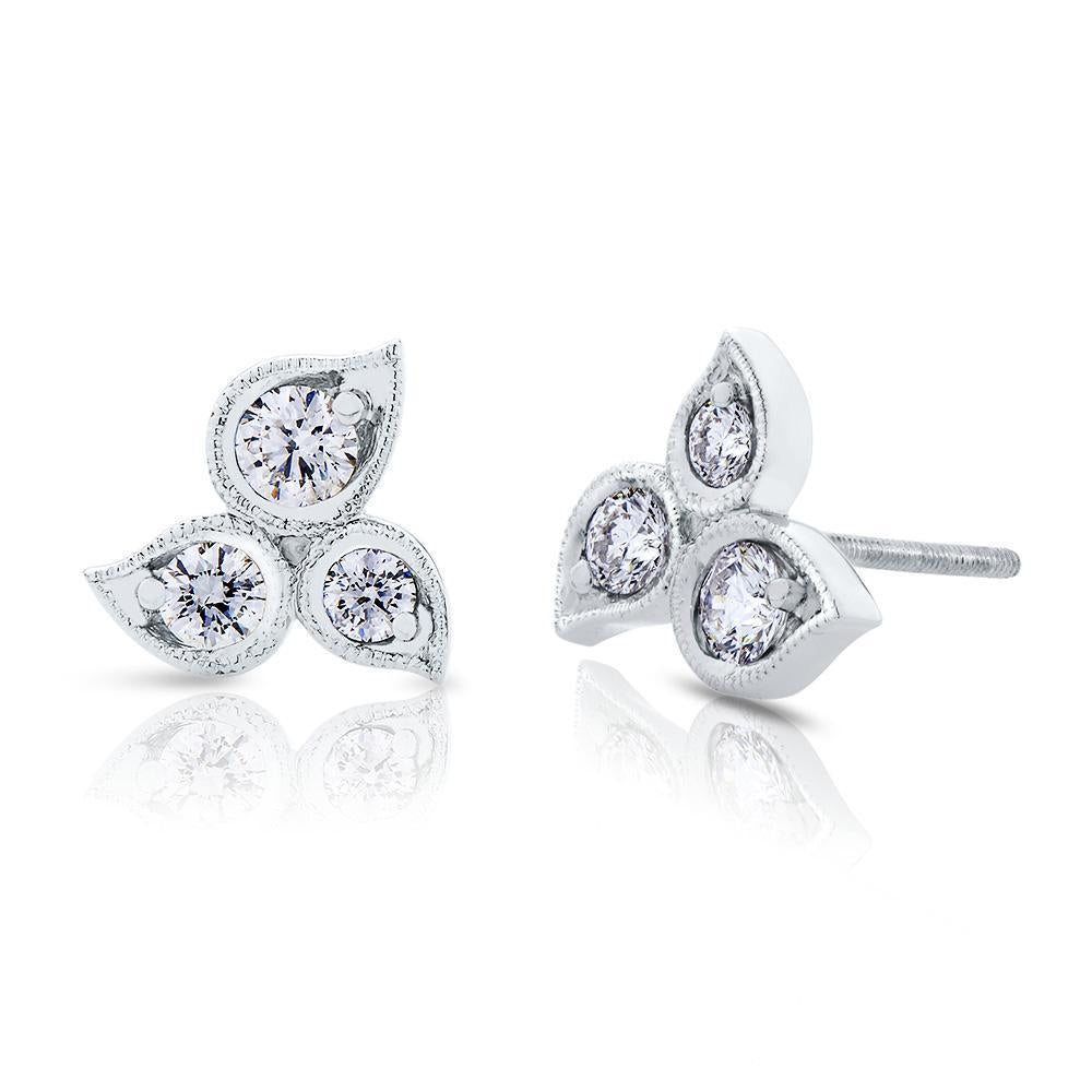 Lys Diamond Stud Earrings in 14K Gold