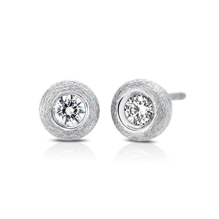 Splendeur Diamond Bezel Stud Earrings in 14K Gold