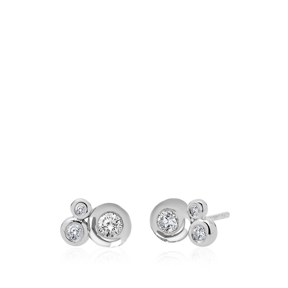 Diamond Cluster Earrings in 14K White Gold