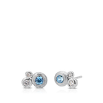 Diamond & Blue Zircon Bezel Stud Earrings in Sterling Silver
