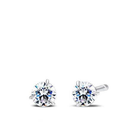 3 Prong Diamond Stud Earrings in 14K White Gold