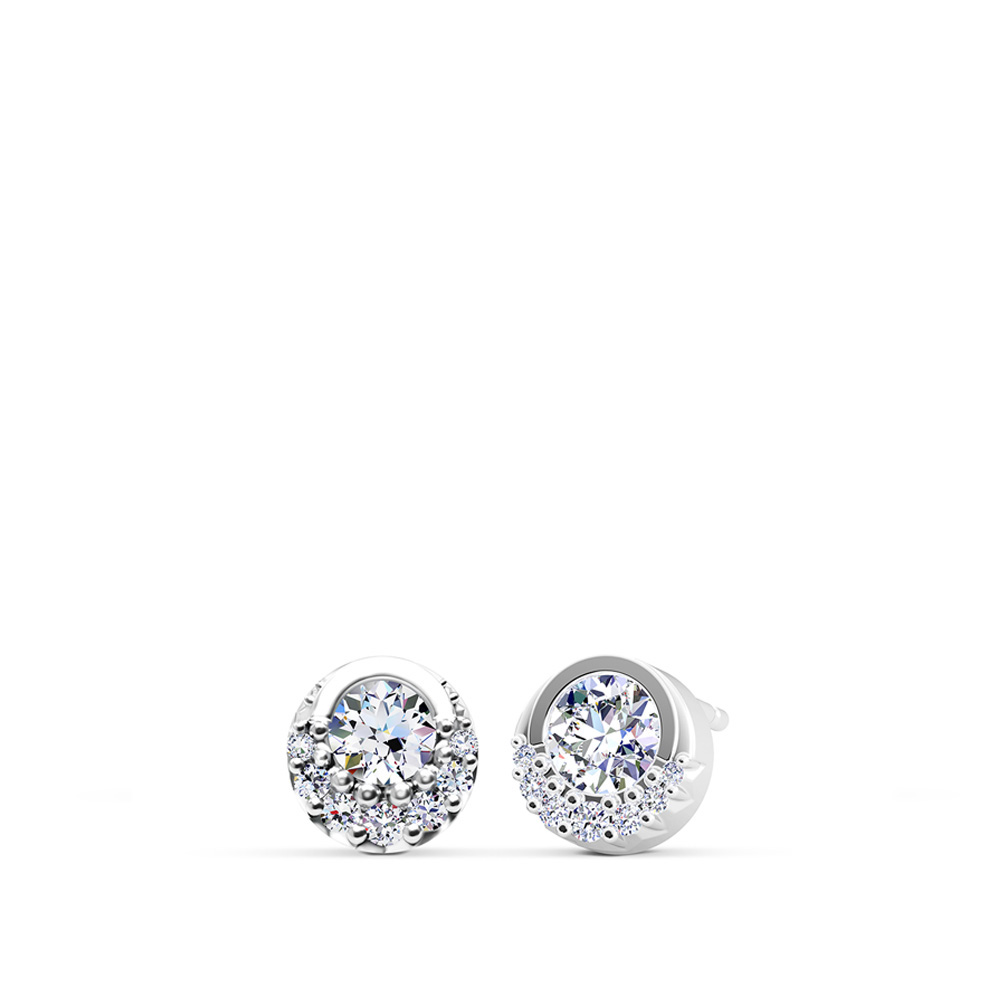 Devotion Inspiré Diamond Bezel Earrings in 14K White Gold