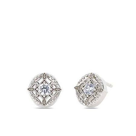 Lace Diamond Stud Earrings in 14K Gold
