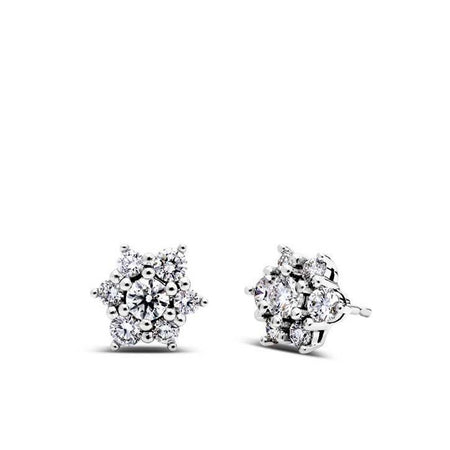 Cluster Diamond Stud Earrings in 14K Gold