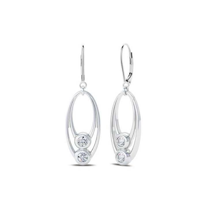 Bezel Stackers Diamond Drop Earring in 14K Gold