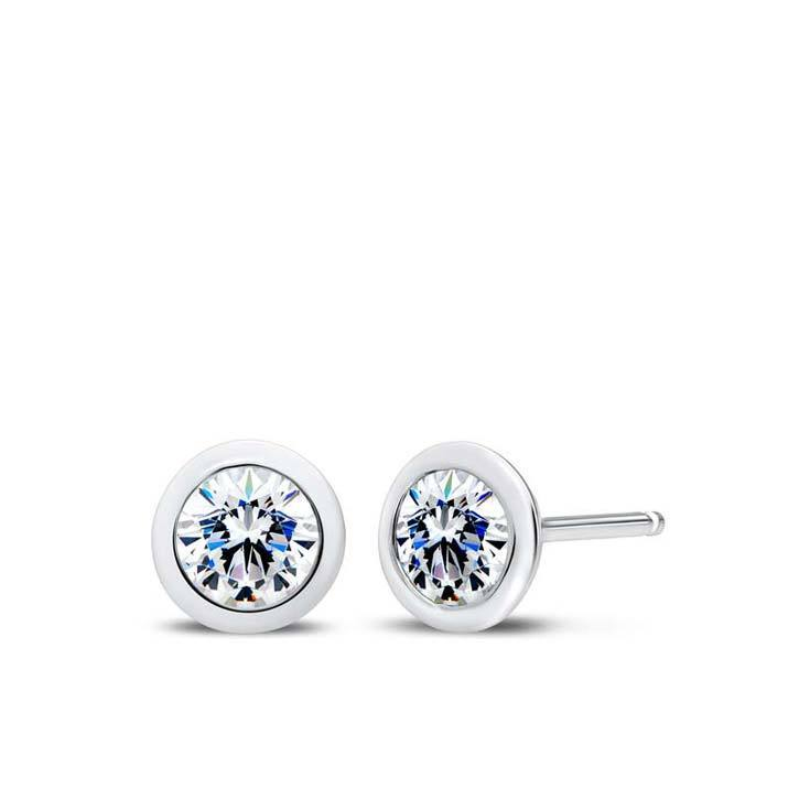 Diamond Bezel Stud Earrings in 14K Gold