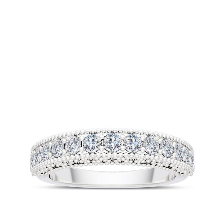 Handcrafted Detail Diamond Wedding Band in 14K White Gold