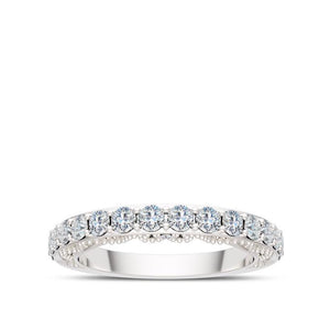 Opulent Diamond Wedding Band in 14K White Gold