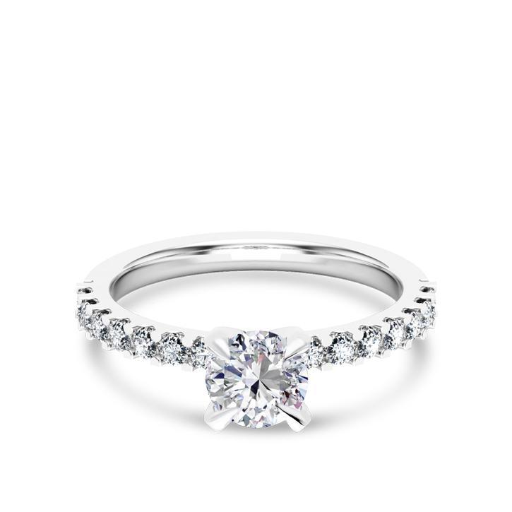 Brilliant Cut Center Diamond Set in Our Shared Prong Setting