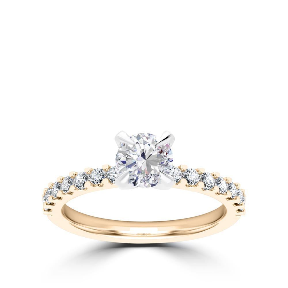 Round Center Stone Diamond Engagement Ring in Platinum & 14K Yellow Gold