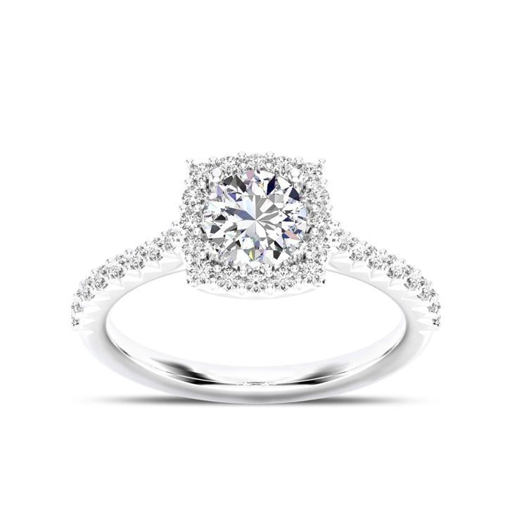 Round Center Stone Diamond  Halo Engagement Ring in 14K White Gold