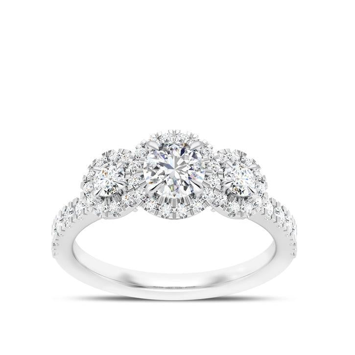Round Brilliant Center Stone Three Stone Halo Engagement Ring in 14K White Gold
