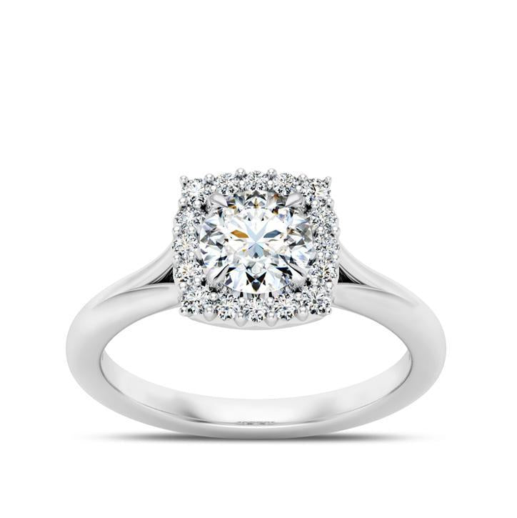 Cushion Halo Round Center Stone Diamond Engagement Ring in 14K White Gold