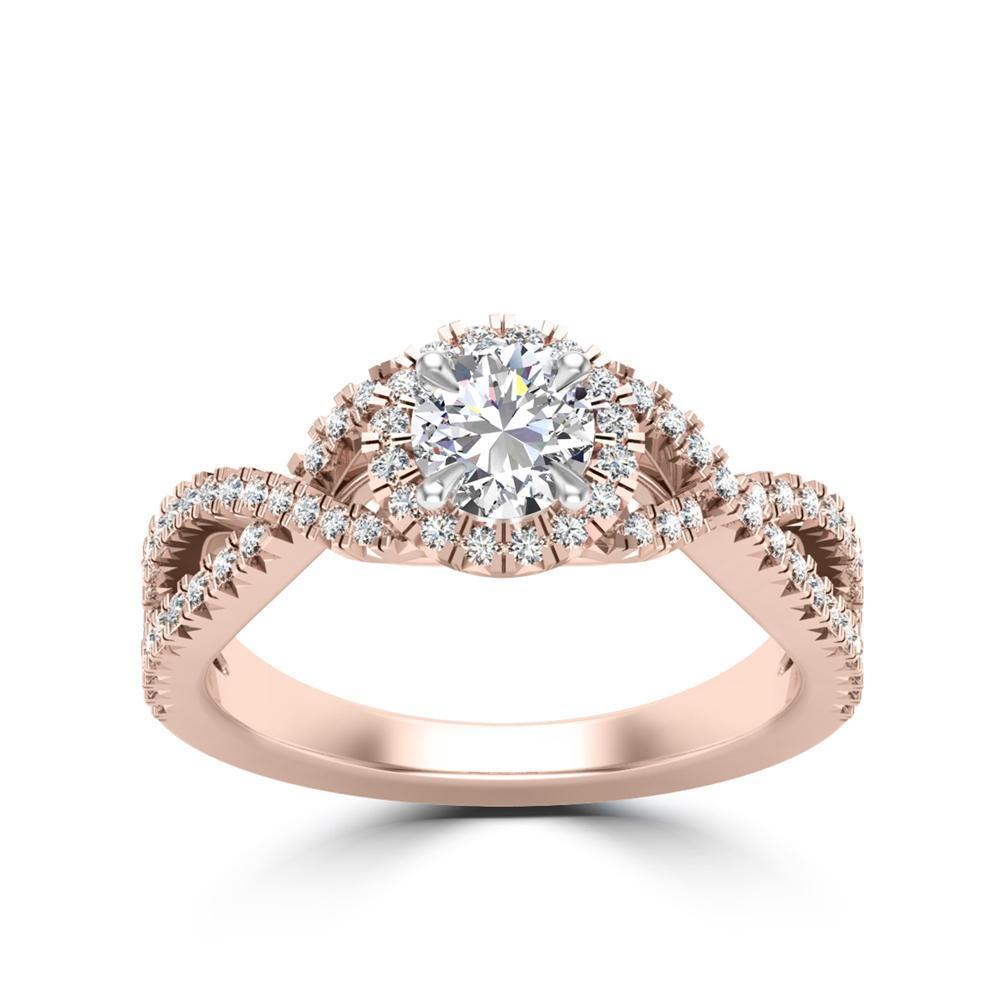 Round Center Stone Diamond Wide Crossover Engagement Ring
