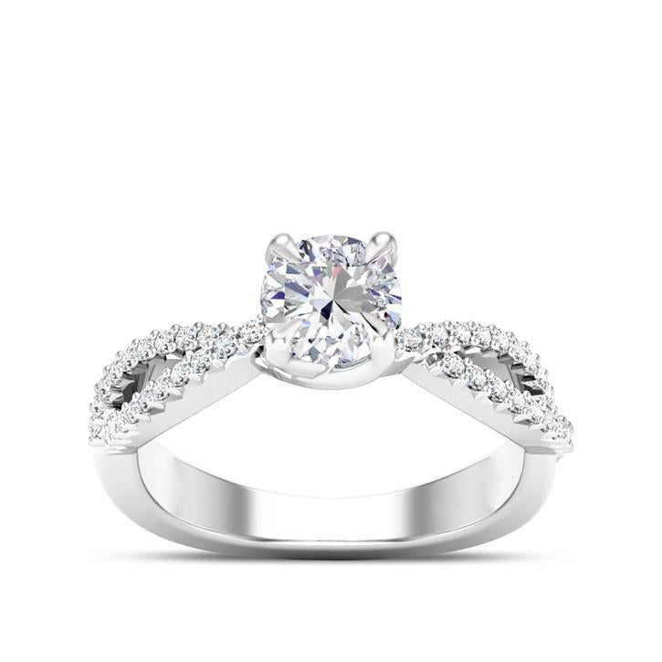 Round Center Stone Diamond Crossover Engagement Ring in 14K White Gold