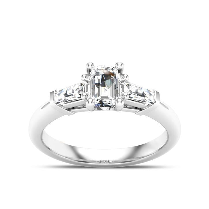 Emerald Cut Diamond Three Stone Engagement Ring in 14K White Gold