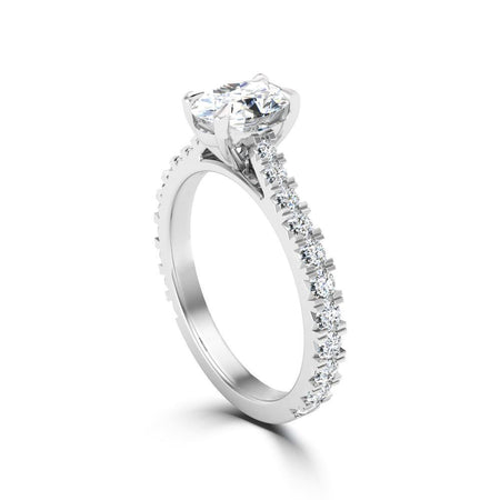 Oval Center Stone Diamond Shank Engagement Ring