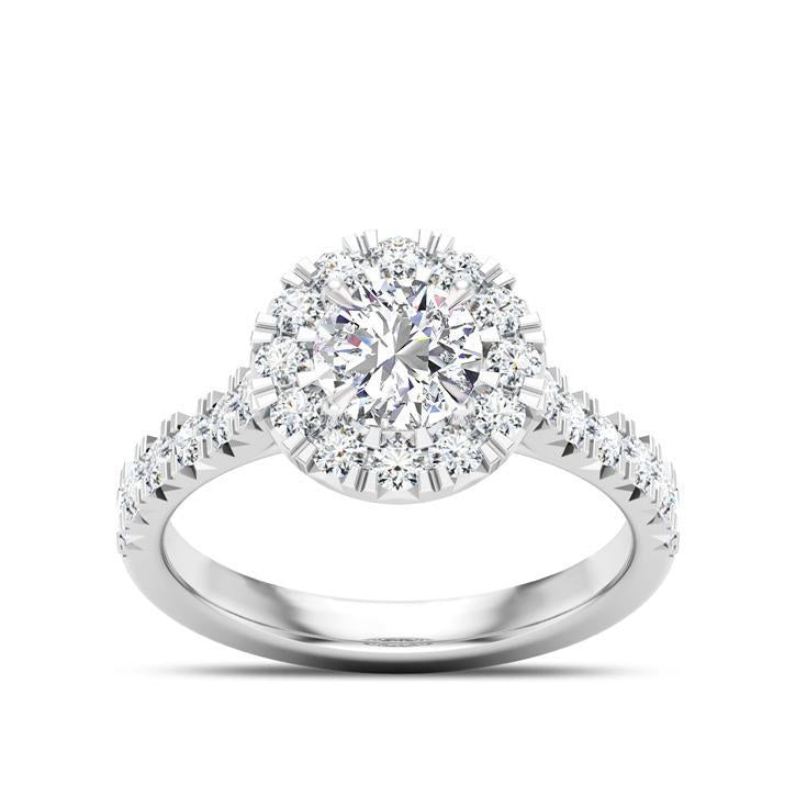 Cushion Center Stone Pavé Diamond Halo Engagement Ring in 14K White Gold
