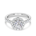 Round Center Stone Diamond Halo Fishtail Engagement Ring in Platinum