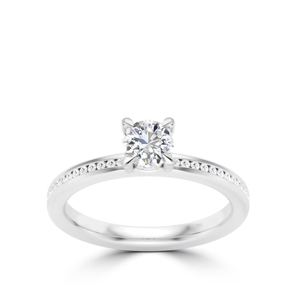 Round Center Stone Diamond MicroPavé Shank Engagement Ring in Platinum & 18K White Gold
