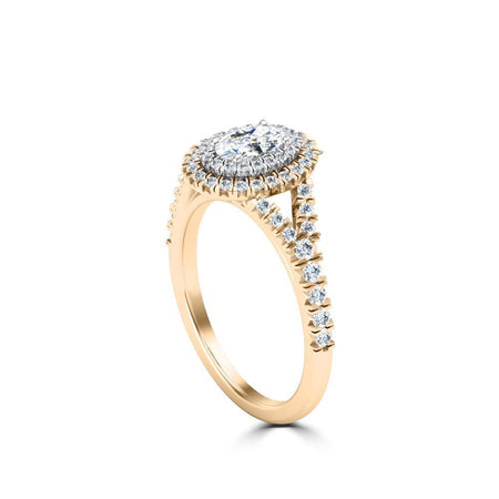 Oval Center Stone Diamond Halo Engagement Ring in 18K Yellow Gold