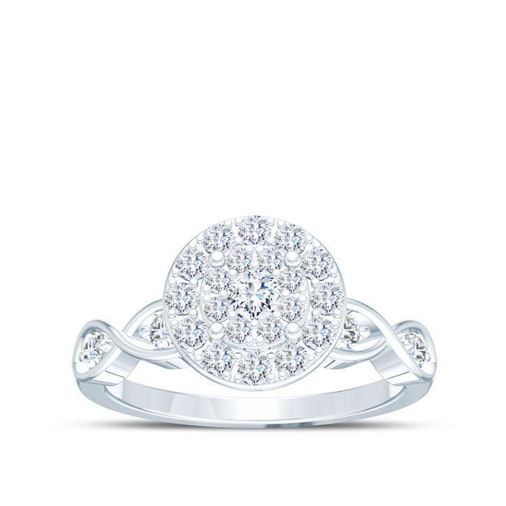 Round Pavé Engagement Ring
