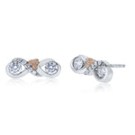 Love & Cherish Diamond Stud Earrings in 14K White & Rose Gold