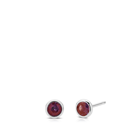 Garnet Bezel Stud Earrings in Sterling Silver