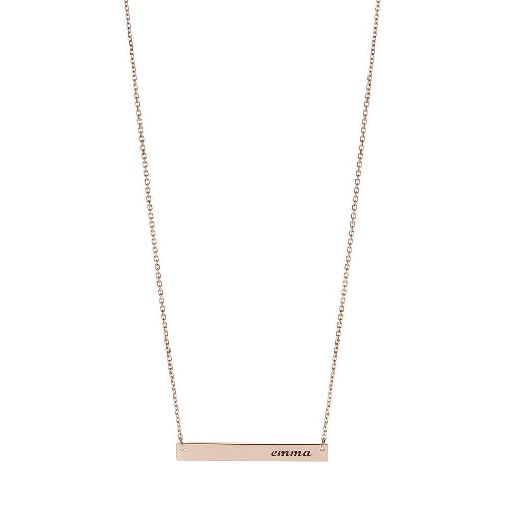 Personalized Bar Pendant Necklace in 14K Rose Gold