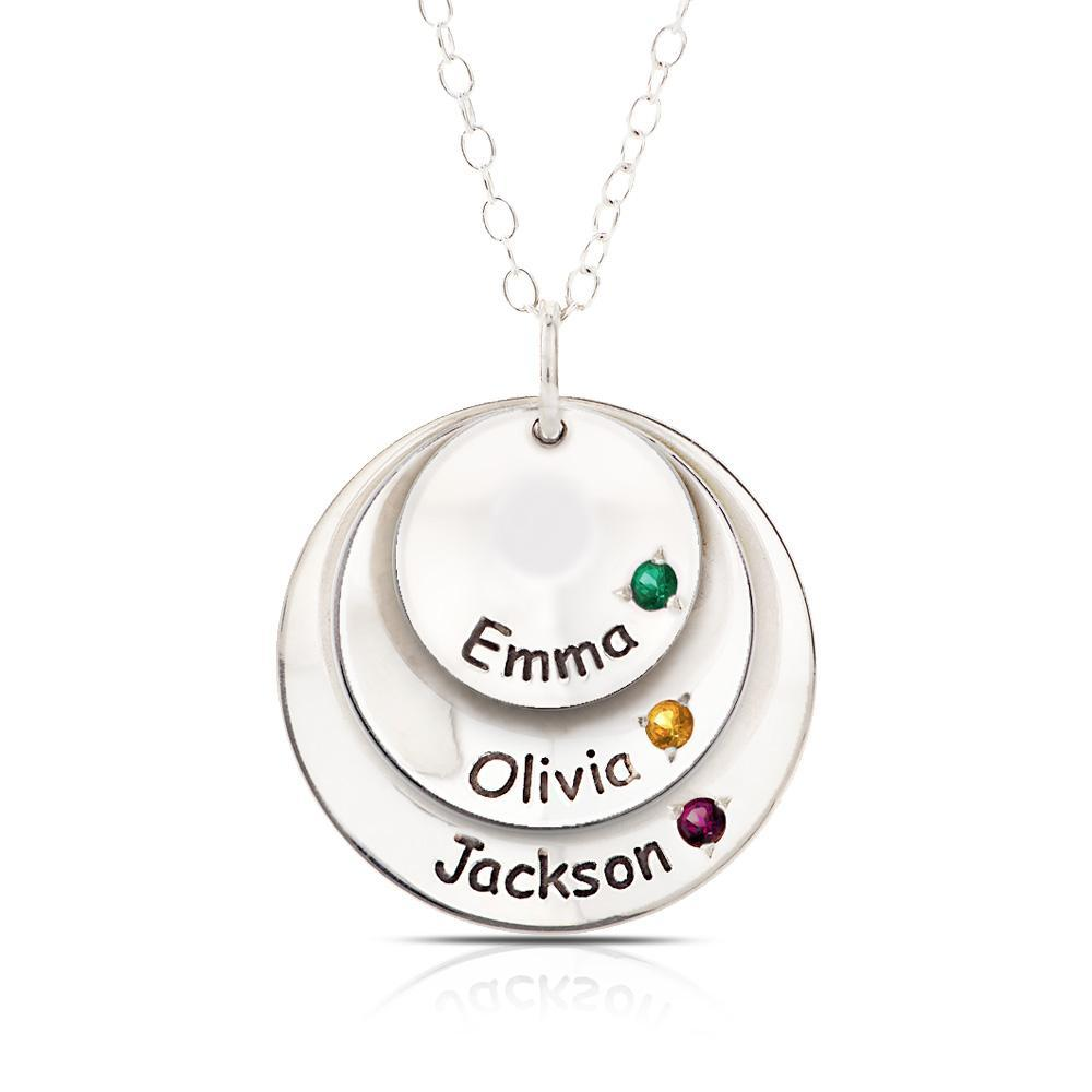 Gemstone Disc Pendant Necklace in Sterling Silver