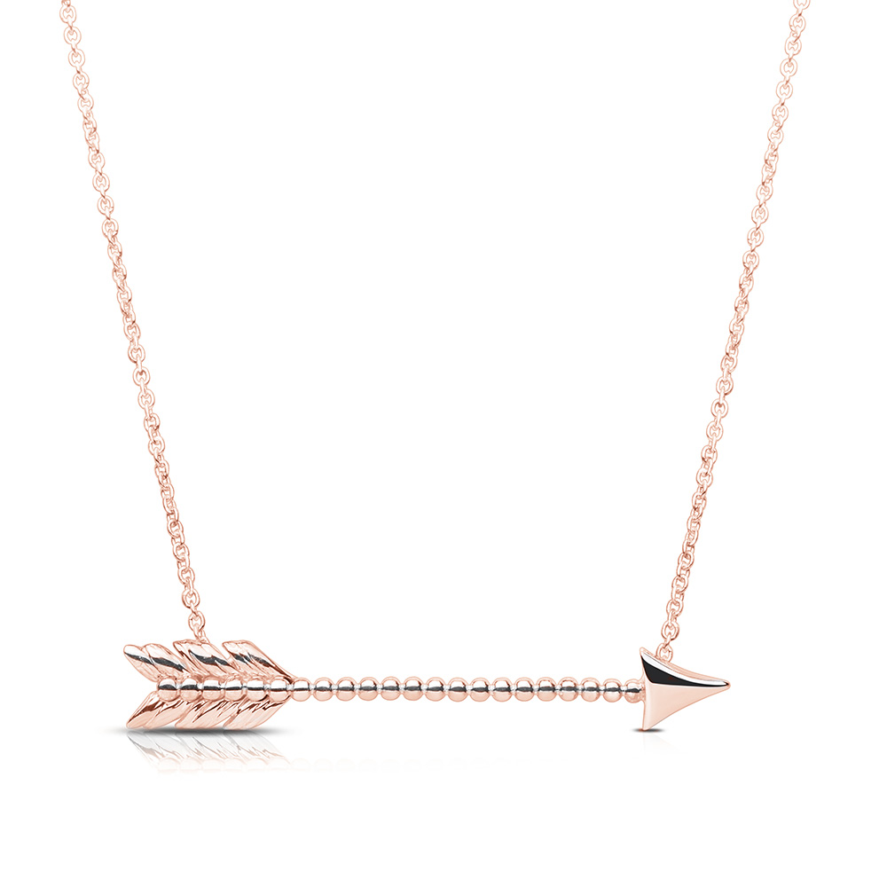 Lovestruck Arrow Pendant Necklace in 14K Rose Gold
