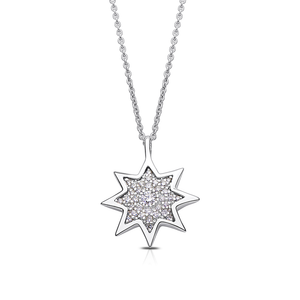 Diamond Starlight Pendant Necklace in Sterling Silver