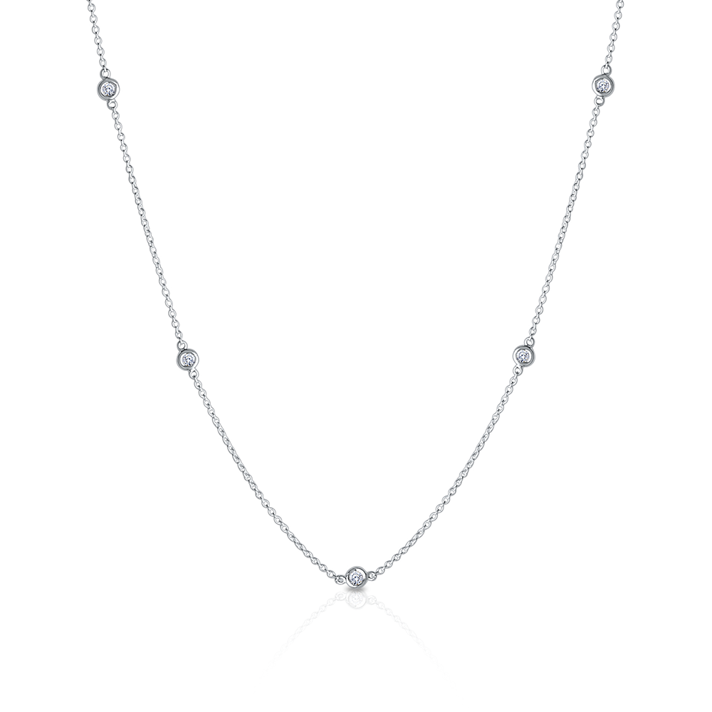 Diamond Dew Drop 12-Station Necklace in Sterling Silver