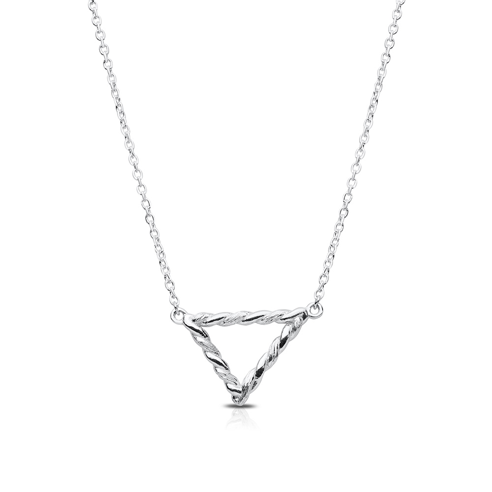 Twisted Geometic Pendant in Sterling Silver