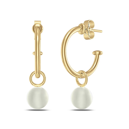 Akoya Pearl Hoop Earrings in 14K Gold
