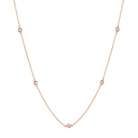 Diamond Dew Drop 5-Station Necklace in 14K Gold