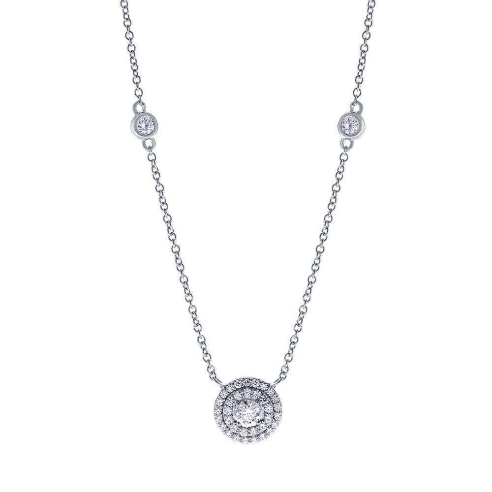 Splendeur Diamond Double Halo Pendant Necklace in 14K Gold