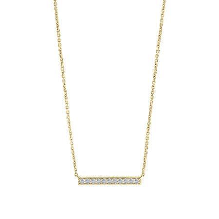 Diamond Bar Pendant Necklace in 14K Gold