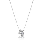Diamond Cluster Pendant Necklace in 14K White Gold
