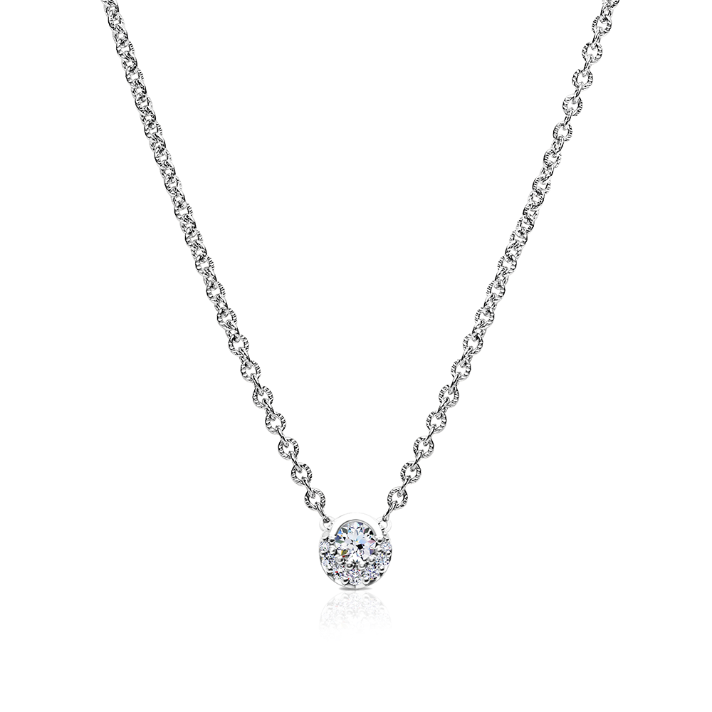 Devotion Inspiré Diamond Bezel Pendant Necklace in 14K White Gold