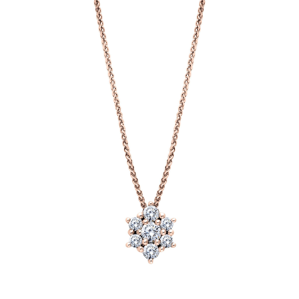 Diamond Cluster Star Pendant Necklace in 14K Rose Gold