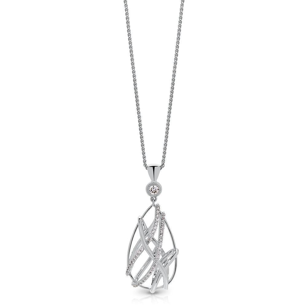 Tendance Diamond Caged Teardrop Pendant in 14K Gold