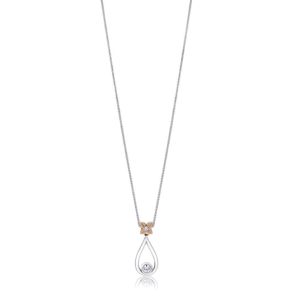 Florette Diamond Drop Pendant Necklace in 14K White, Yellow & Rose Gold