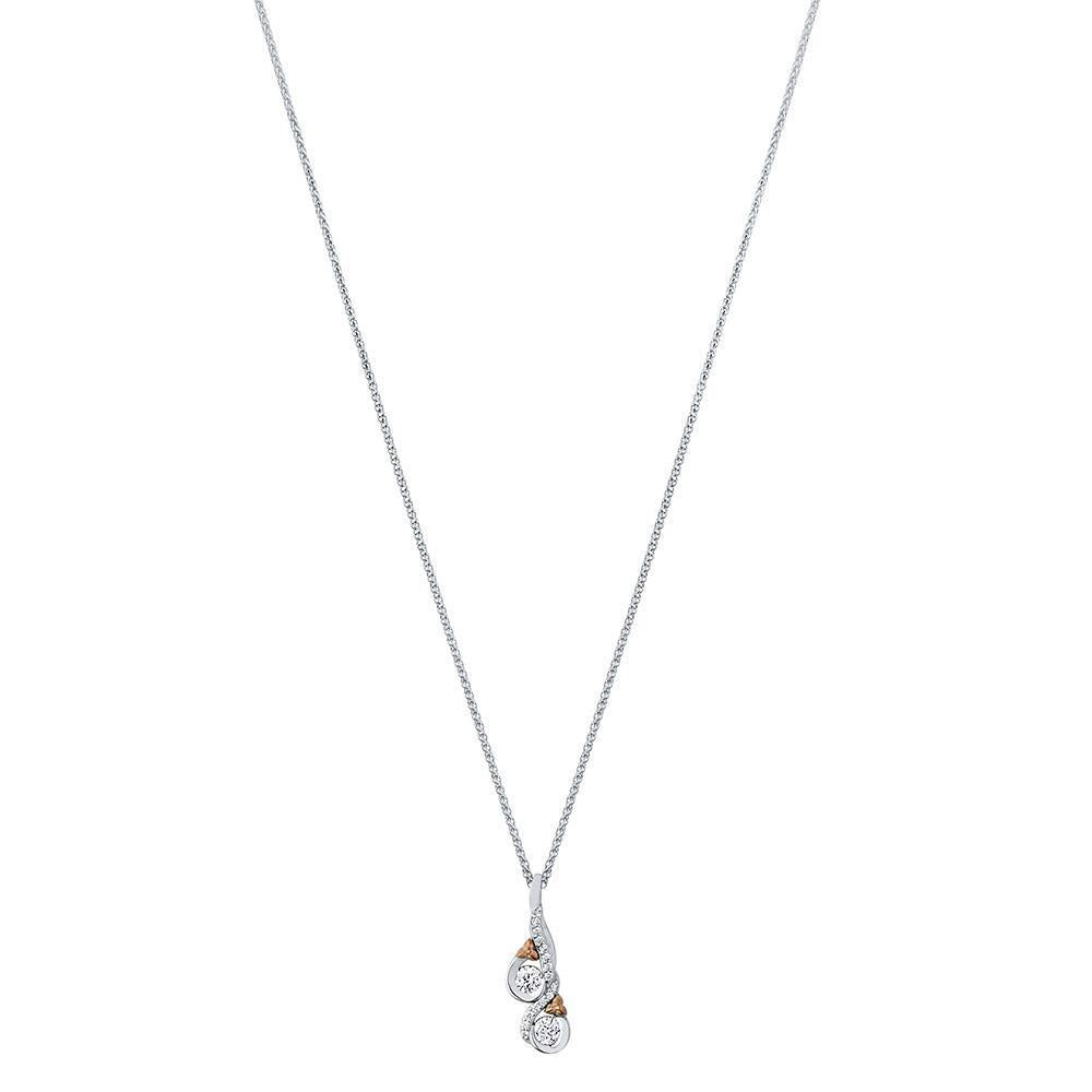Love & Cherish Diamond Pendant Necklace in 14K White & Rose Gold