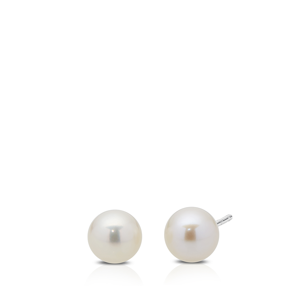 6-6.5 FW White Pearl Stud Earrings