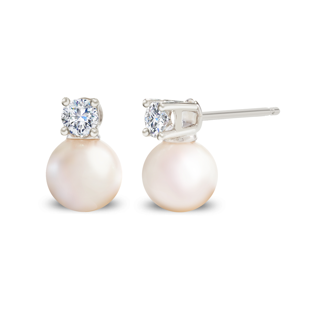 Diamond Pearl Earrings in 14K White Gold