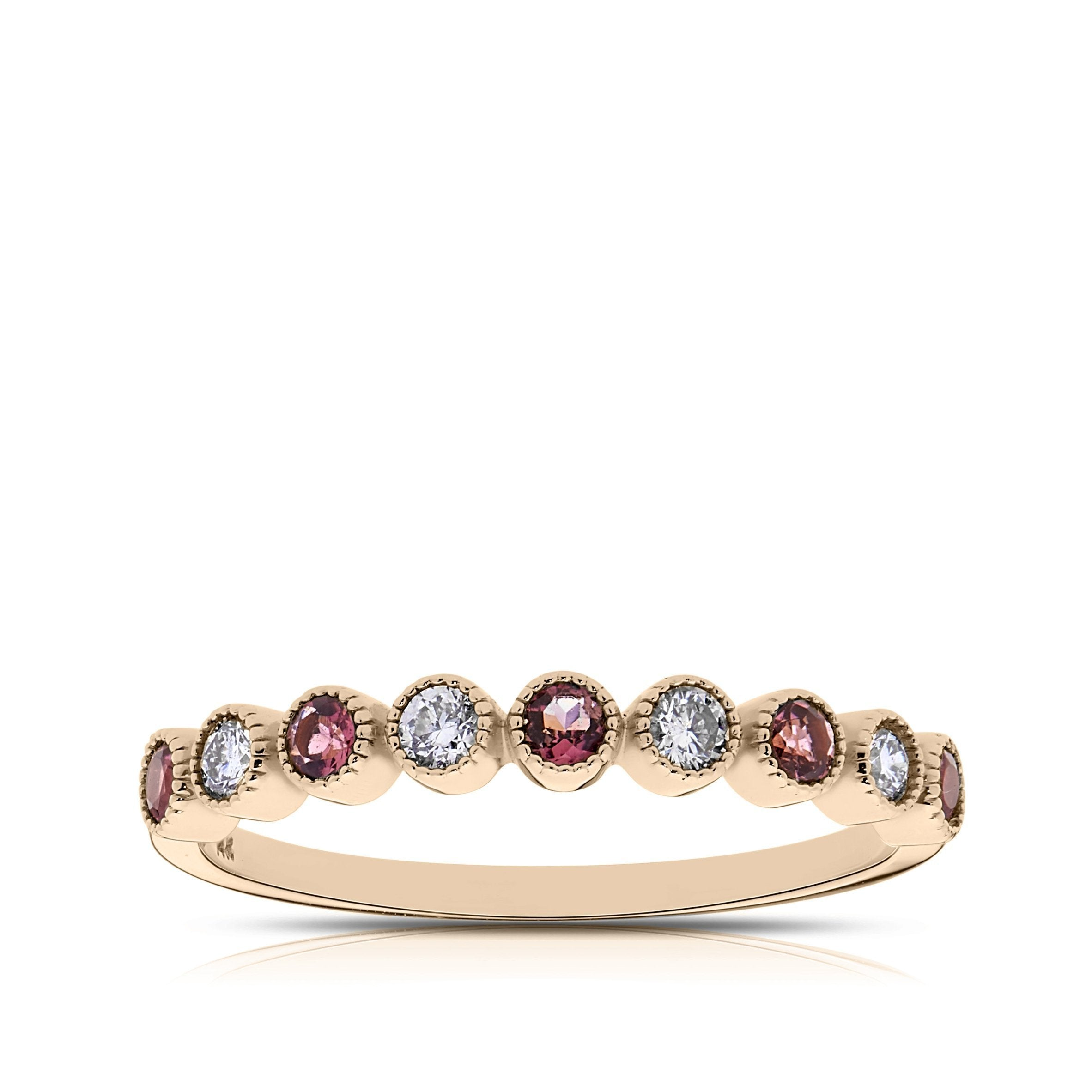 Diamond & Pink Tourmaline Bezel Stackable Ring in 14K Rose Gold