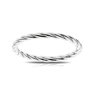 Stackable Twisted Cable Ring in Sterling Silver